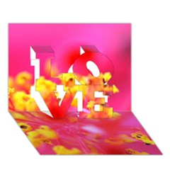 Bright Pink Hibiscus LOVE 3D Greeting Card (7x5)