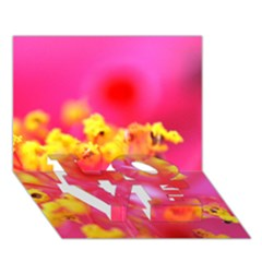 Bright Pink Hibiscus Love Bottom 3d Greeting Card (7x5)