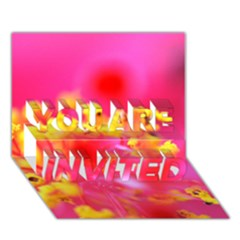 Bright Pink Hibiscus You Are Invited 3d Greeting Card (7x5)