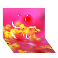 Bright Pink Hibiscus Clover 3d Greeting Card (7x5)