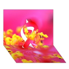 Bright Pink Hibiscus Ribbon 3d Greeting Card (7x5)