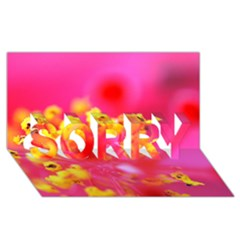 Bright Pink Hibiscus SORRY 3D Greeting Card (8x4)