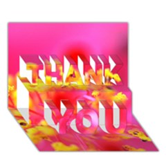 Bright Pink Hibiscus Thank You 3d Greeting Card (7x5)