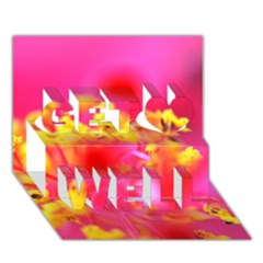 Bright Pink Hibiscus Get Well 3d Greeting Card (7x5)