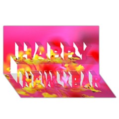 Bright Pink Hibiscus Happy New Year 3D Greeting Card (8x4)