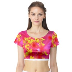 Bright Pink Hibiscus Short Sleeve Crop Top