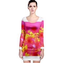 Bright Pink Hibiscus Long Sleeve Bodycon Dresses