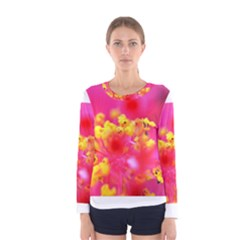 Bright Pink Hibiscus Women s Long Sleeve T-shirts