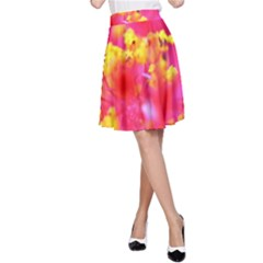 Bright Pink Hibiscus A-Line Skirts