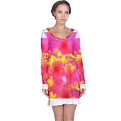 Bright Pink Hibiscus Long Sleeve Nightdresses
