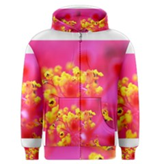 Bright Pink Hibiscus Men s Zipper Hoodies