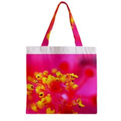 Bright Pink Hibiscus Zipper Grocery Tote Bags