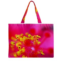 Bright Pink Hibiscus Zipper Tiny Tote Bags