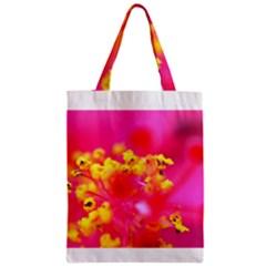 Bright Pink Hibiscus Zipper Classic Tote Bags