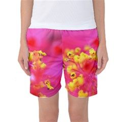 Bright Pink Hibiscus Women s Basketball Shorts