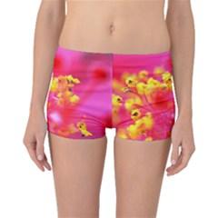 Bright Pink Hibiscus Boyleg Bikini Bottoms