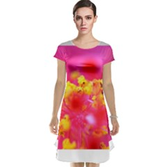 Bright Pink Hibiscus Cap Sleeve Nightdresses