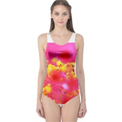 Bright Pink Hibiscus Women s One Piece Swimsuits