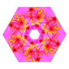 Bright Pink Hibiscus 2 Mini Folding Umbrellas