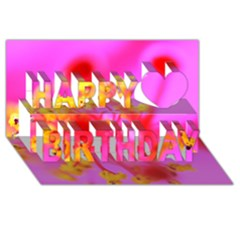 Bright Pink Hibiscus 2 Happy Birthday 3D Greeting Card (8x4)