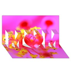 Bright Pink Hibiscus 2 Mom 3d Greeting Card (8x4)
