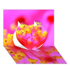 Bright Pink Hibiscus 2 Heart 3d Greeting Card (7x5)