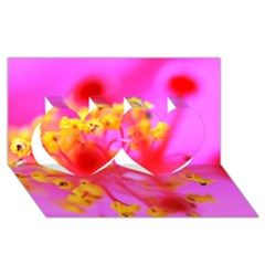Bright Pink Hibiscus 2 Twin Hearts 3d Greeting Card (8x4)