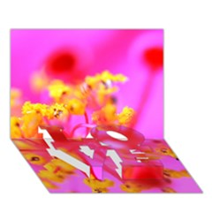 Bright Pink Hibiscus 2 LOVE Bottom 3D Greeting Card (7x5)