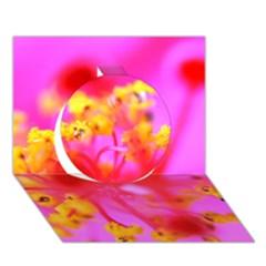 Bright Pink Hibiscus 2 Circle 3d Greeting Card (7x5)