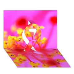 Bright Pink Hibiscus 2 Ribbon 3d Greeting Card (7x5)