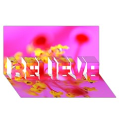 Bright Pink Hibiscus 2 BELIEVE 3D Greeting Card (8x4)