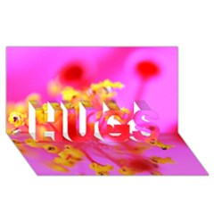 Bright Pink Hibiscus 2 Hugs 3d Greeting Card (8x4)