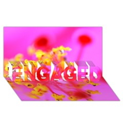 Bright Pink Hibiscus 2 ENGAGED 3D Greeting Card (8x4)