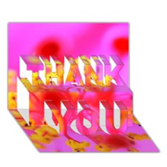 Bright Pink Hibiscus 2 Thank You 3d Greeting Card (7x5)
