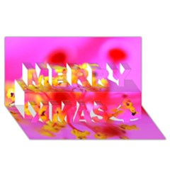 Bright Pink Hibiscus 2 Merry Xmas 3d Greeting Card (8x4)