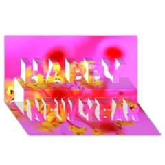 Bright Pink Hibiscus 2 Happy New Year 3d Greeting Card (8x4)