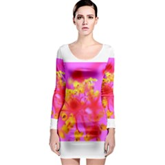 Bright Pink Hibiscus 2 Long Sleeve Bodycon Dresses