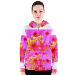 Bright Pink Hibiscus 2 Women s Zipper Hoodies