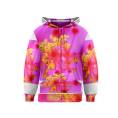 Bright Pink Hibiscus 2 Kids Zipper Hoodies
