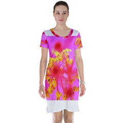 Bright Pink Hibiscus 2 Short Sleeve Nightdresses