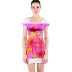 Bright Pink Hibiscus 2 Short Sleeve Bodycon Dresses