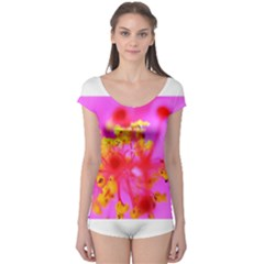 Bright Pink Hibiscus 2 Short Sleeve Leotard