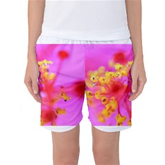 Bright Pink Hibiscus 2 Women s Basketball Shorts