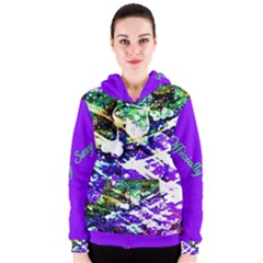 Officially Sexy Purple Floating Hearts Collection Women s Zipper Hoodie