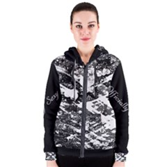 Officially Sexy Black & White Floating Hearts Collection Women s Zipper Hoodie