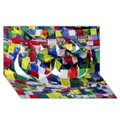 Tibetan Buddhist Prayer Flags Twin Hearts 3d Greeting Card (8x4)