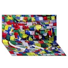 Tibetan Buddhist Prayer Flags Twin Heart Bottom 3D Greeting Card (8x4)