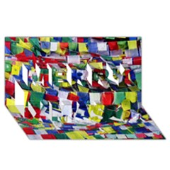 Tibetan Buddhist Prayer Flags Merry Xmas 3D Greeting Card (8x4)