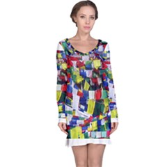 Tibetan Buddhist Prayer Flags Long Sleeve Nightdresses