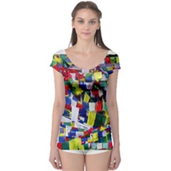 Tibetan Buddhist Prayer Flags Short Sleeve Leotard